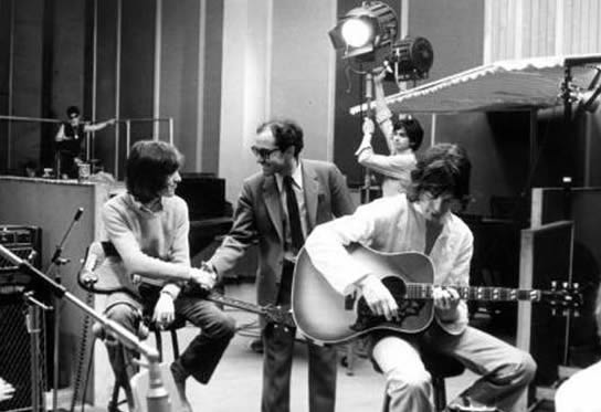 Godard directing the Rolling Stones in his film One Plus One (1968)