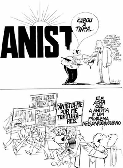 A 1979 cartoon by Ziraldo in O Pasquim illustrates the ambiguity of the amnesty law.