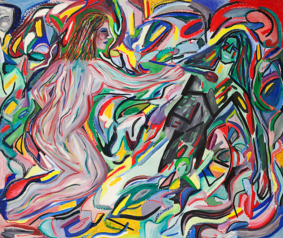 "Susan Bee, Woman Artist Painting, 1982, 52"" x 68"", oil on linen"