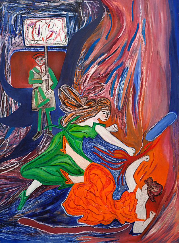 "Susan Bee, Fighters, oil on canvas, 1983, 64"" x 48"", oil on linen"