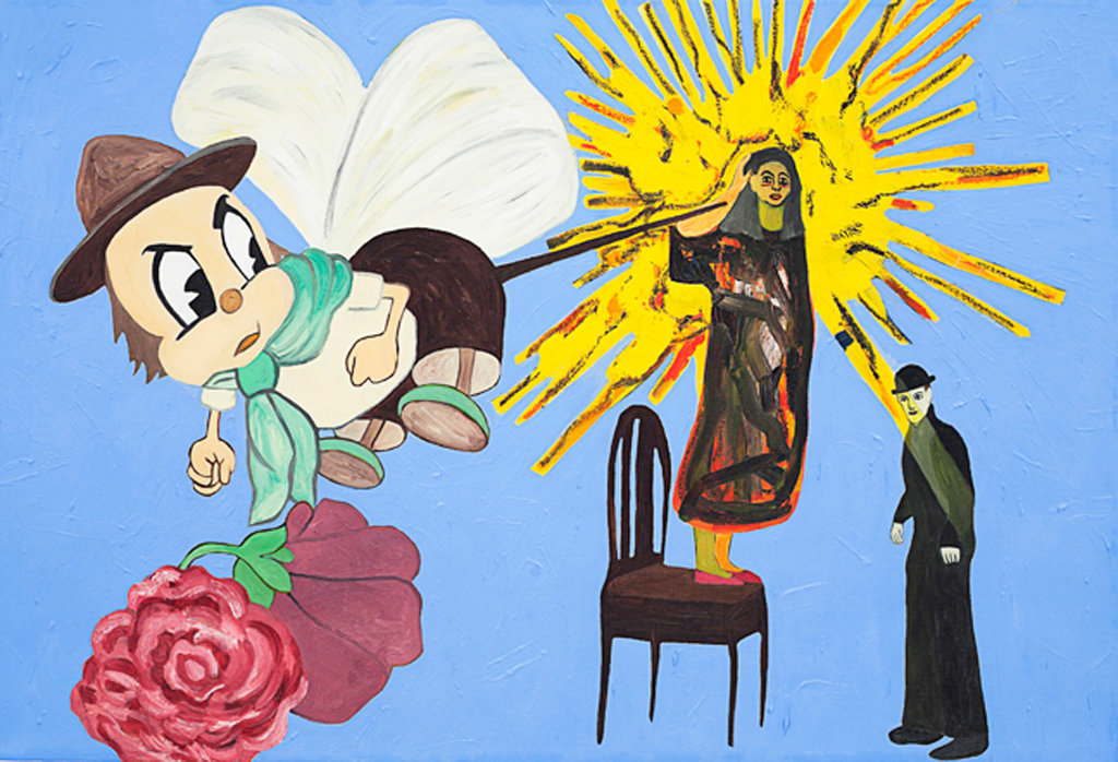 "Susan Bee, Mr. Bugs Goes to Town, 1983-85, 24"" x 36"", oil on linen"